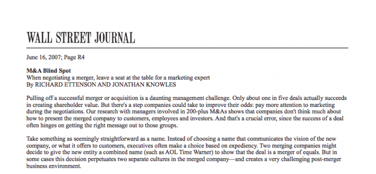 Wall Street Journal M&A Blind Spot Article