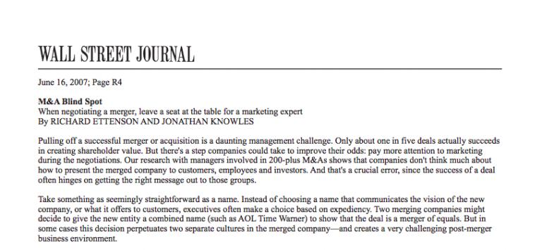 Wall Street Journal M&A Blind Spot Article