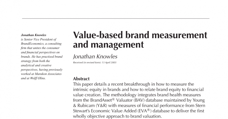 Type 2 Consulting - Published Article - Value-Base Brand Measurement & Management