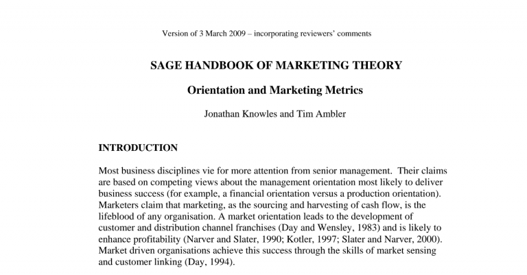 Type 2 Consulting - Published Article - Orientation & Marketing Metrics