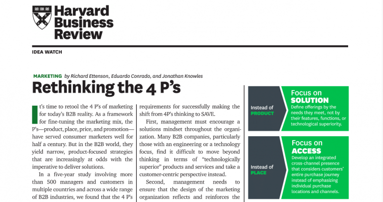 Type 2 Consulting - Published Articles - Rethinking the 4 P's